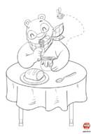 Coloriage-Ours-mange du miel