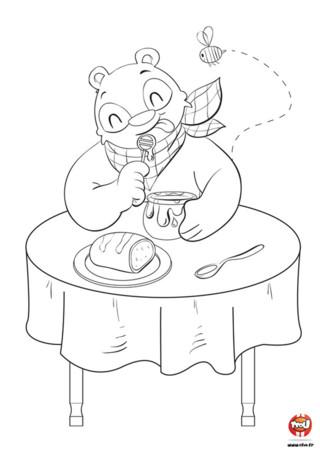 Miam ! Miam ! L'ours est un animal très gourmand, il adore manger et particulièrement du bon miel. Il en raffole et trouve ça très bon, surtout quand le miel a été fait par son amie l'abeille. Il est trop rigolo avec son pot de miel et sa serviette autour du cou. Tu aimes ce coloriage d'ours ? Imprime-le gratuitement sur TFou.fr et colorie l'ours en train de manger. Prends tes beaux crayons de couleurs ou feutres et amuse-toi !