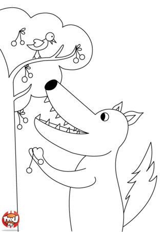Coloriage: Loup cueille des cerises