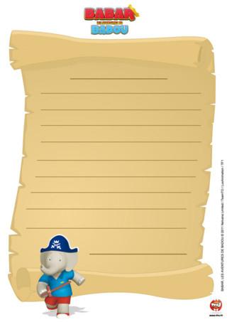 """Papier à lettre : Imprime ce papier à lettre de """"Babar et les aventures de Badou"""" pour envoyer des lettres à tes amis ou juste les collectionner."""