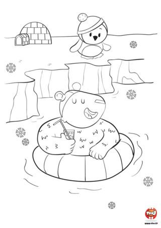 On ne dirait pas quand on voit cette grosse boule de poils mais l'ours aime être dans l'eau. Il a mis son bonnet de bain et a gonflé sa bouée pour faire trempette. L'ours aime bien faire une petite baignade pour se rafraichir. On ne peut pas en dire autant de son ami le pingouin. Il n'a pas l'air de vouloir se baigner avec son petit bonnet. Imprime gratuitement ce joli coloriage pour enfant et colorie-le avec les couleurs de ton choix.