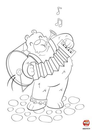 As-tu déjà vu un ours jouer de la musique ? Maintenant c'est fait ! Il est fort cet ours, il arrive à jouer 4 instruments en même temps ! C'est un véritable génie de la musique. Il joue de la trompette avec sa bouche, de l'accordéon avec ses mains, des grelots avec son pied et du tambour en bougeant son popotin. Toi aussi il te donne envie de danser ? Va sur TFou.fr et imprime ce joli coloriage pour enfant. Tu pourras colorier tous ses instruments de musique avec les couleurs de ton choix.