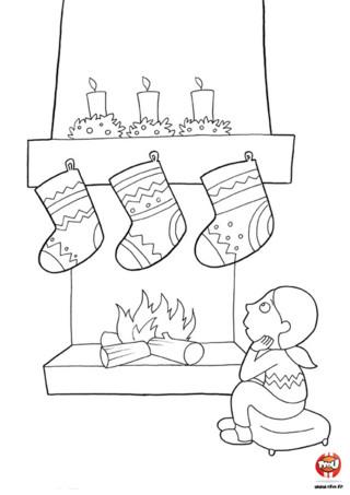Coloriage : La petite fille attend le père Noël. La nuit de Noël, nombreux sont les enfants qui attendent près de la cheminée pour voir le père Noël, mais ils s'endorment à chaque fois. imprime vite ce joli coloriage gratuitement sur Tfou.fr.