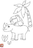 Oiseau sur le dos de Rhino