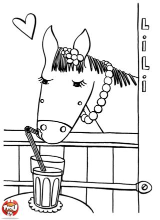 Coloriage: Lili sirote un verre