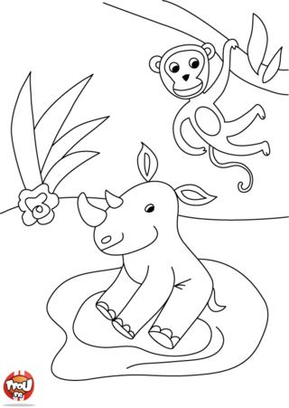 Coloriage: Rhino et le singe