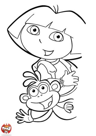 Coloriage: Dora et Babouche au revoir