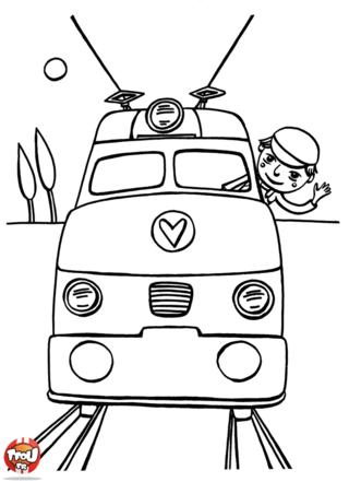 Coloriage: Le conducteur fait coucou