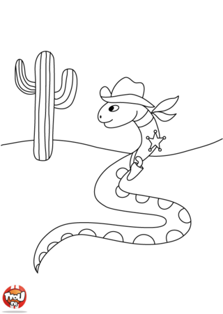 Coloriage: Serpent Cow-Boy