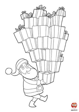 Coloriage : Le père noël a plein de cadeaux à offrir à tous les enfants du monde. Imprime vite ce coloriage et colorie tous les cadeaux du père Noël de la couleur de ton choix.