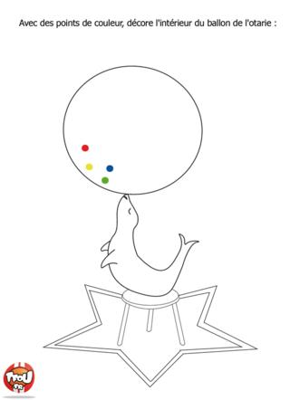 Coloriage: L'otarie et son ballon