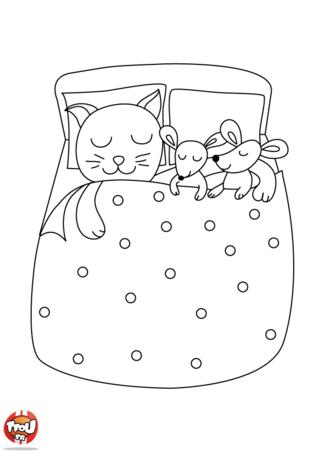 Coloriage: Les souris dans le lit
