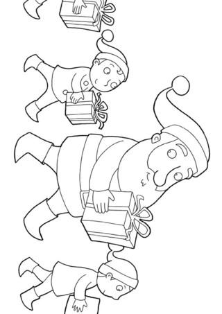 Coloriage : Le père noël et ses lutins. C'est un travail d'équipe pour la distribution des cadeaux : les lutins aide le père Noël pour la distribution. Imprime vite ce joli coloriage.