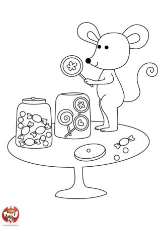 Coloriage: Souris aime les bonbons