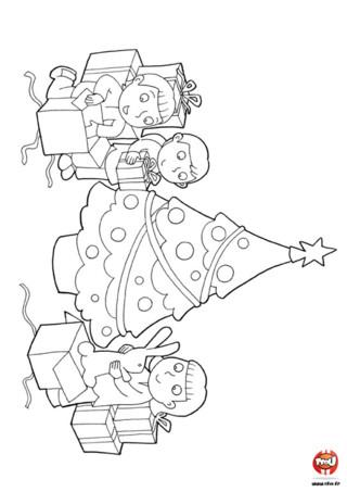 Coloriage : L'ouverture des cadeaux de Noël . Les enfants et les parents ouvrent les cadeaux déposés par le père Noël, imprime vite ce joli coloriage pour décorer ta maison ou l'offrir au Père Noël.