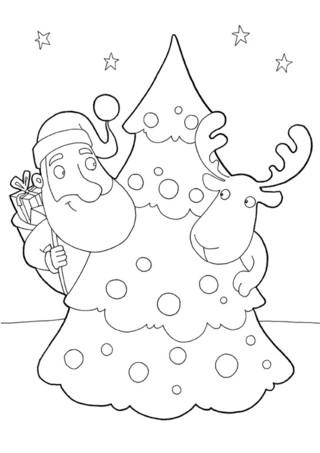 Coloriage : Le père noël et le cerf. Imprime vite ce joli coloriage pour décorer ta maison pour Noël. Le cerf et le Père Noël déposent les cadeaux aux pieds du sapin sans se faire remarquer.