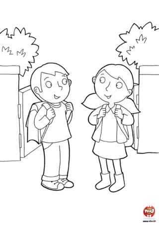 Coloriage : La rentrée des classes. Un écolier et une écolière se rendent à l'école pour leurs premier jour d'école après des vacances scolaires.