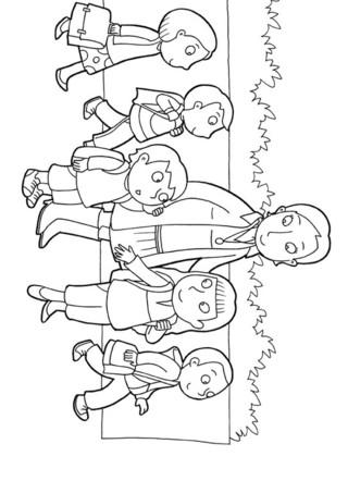 Coloriage : La maîtresse et les écoliers. Dans la cours de récréation, chacun échange sur ses vacances. Imprime vite ce coloriage et prépare-toi à la rentrée des classes.