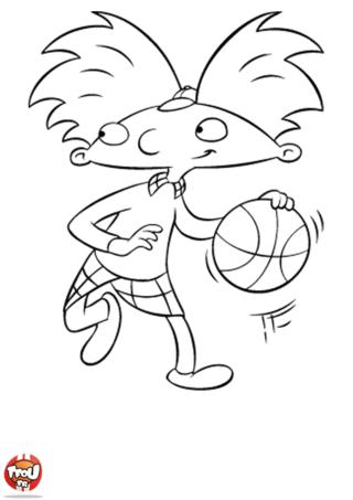 Coloriage: Arnold joue au basket