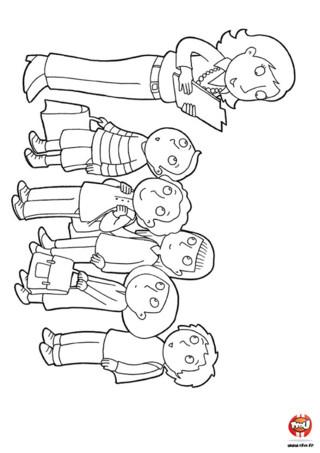 Coloriage : Les enfants à la rentrée des classes écoutent leur maîtresse et se préparent à commencer l'école.