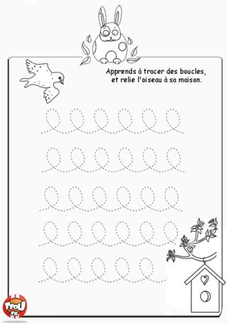 Coloriage: L'oiseau et son nid