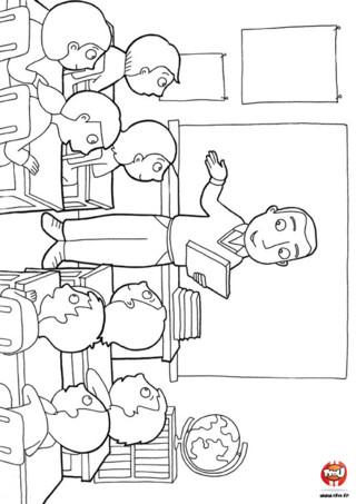 Coloriage : La maître et les enfants dans la classe. Dans la classe, à la rentrée, le maître fait l'appel pour connaître le prénom de tous les enfants. Imprime vite ce coloriage et prépare-toi à la rentrée des classes.