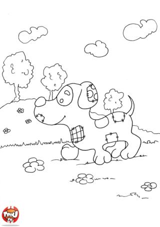 Coloriage: Petit chien qui marche