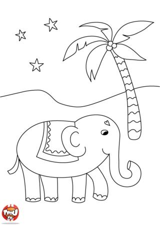 Coloriage: L'éléphant des 1001 nuits