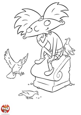 Coloriage: Arnold et les pigeons