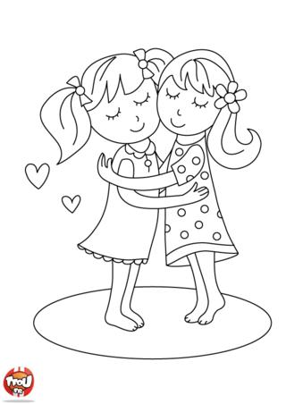 Coloriage: Deux amies se serrent dans les bras