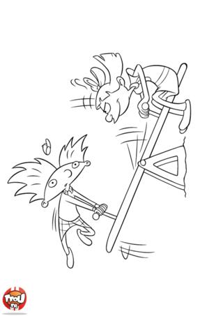 Coloriage: Arnold et Helga balançoire