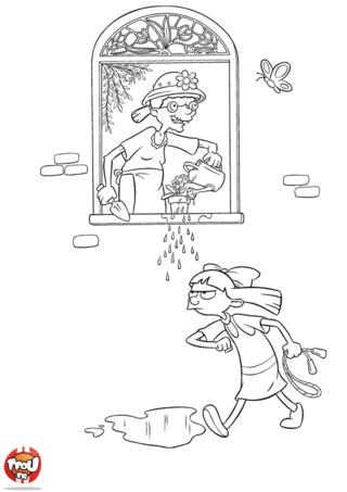 Coloriage: Helga et la mamie