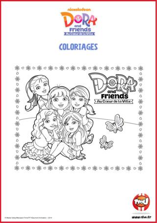 Prêt pour une activité coloriage? Ajoute des couleurs à Dora, Emma, Alana, Kate et Naiya! Le sais-tu? En imprimant gratuitement ce coloriage de tes héros TFou tu pourras gagner plein de Tfizz ainsi qu'un badge Dora and Friends!