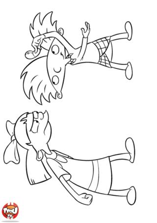 Coloriage: Arnold joue avec Helga