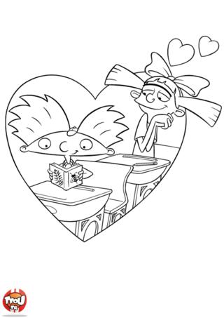 Coloriage: Helga amoureuse d'Arnold
