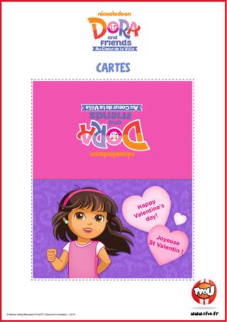 Dora te propose d'offrir cette belle carte à ton valentin ou ta valentine pour la Saint Valentin! Le sais-tu? En imprimant gratuitement cette carte de ton héros TFou tu pourras gagner plein de Tfizz ainsi qu'un badge Dora and Friends!
