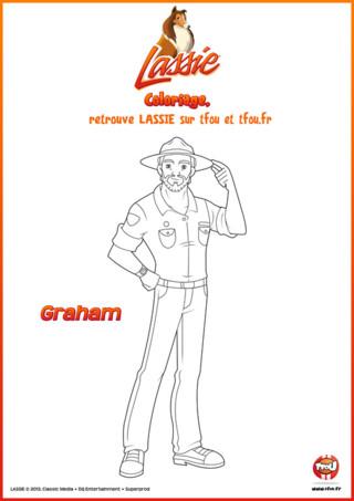 Chez TFou.fr on te propose gratuitement ce coloriage à imprimer de Graham de la série Lassie. Tu connais Graham ? C'est le père de Zoé. C'est un ranger, cela veut dire qu'il veille sur la forêt et sur les animaux qui y vivent. Son métier lui permet d'être sur le terrain et d'être toujours présent lorsqu'il y a un problème. Mais un ranger sans couleurs n'est pas vraiment un ranger. Imprime gratuitement ce super coloriage pour enfants sur TFou.fr et amuse-toi ! Ajoute de jolies couleurs à Graham pour faire de lui un fier ranger.