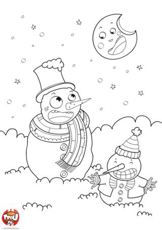 Coloriage: Deux bonhommes de neiges