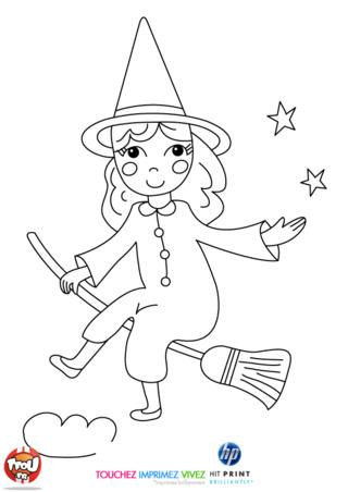 Coloriage: La sorcière toute mimi