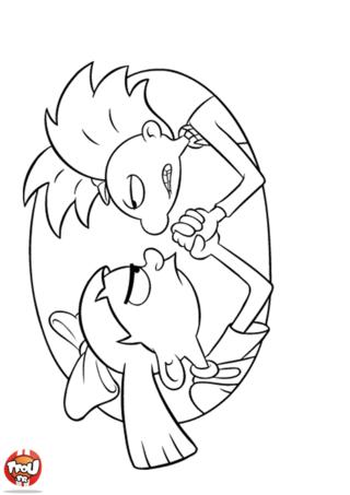 Coloriage: Arnold et Helga bras de fer