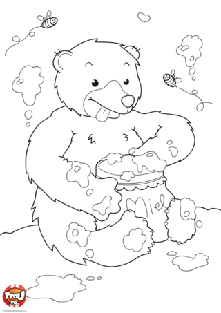 Coloriage: Ours Gourmand