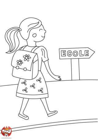 Coloriage: Sur le chemin de l'école
