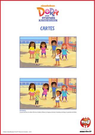 Ces dessins sont identiques? Non, regarde bien et amuse-toi à trouver leurs différences! Le sais-tu? En imprimant gratuitement ce dessin de tes héros TFou tu pourras gagner plein de Tfizz ainsi qu'un badge Dora and Friends!