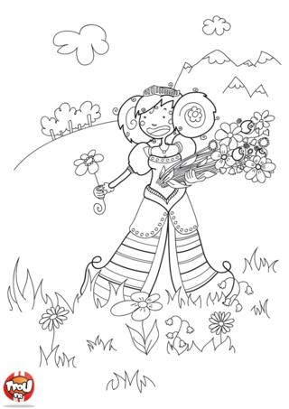 Coloriage: La princesse aux fleurs 2