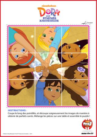 Prêt pour une activité puzzle? Découpe ce dessin en suivant les pointillés et amuse-toi à assembler le puzzle! Le sais-tu? En imprimant gratuitement ce puzzle de tes héros TFou tu pourras gagner plein de Tfizz ainsi qu'un badge Dora and Friends!