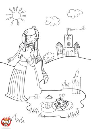 Coloriage: La princesse et le crapaud