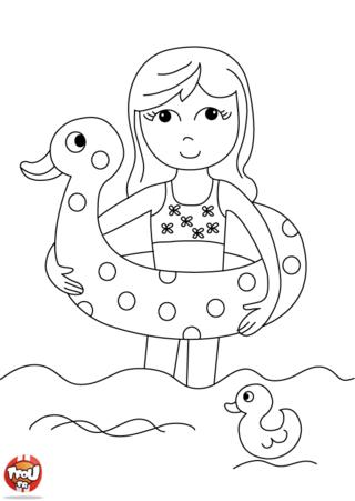 Coloriage: La jolie bouée en canard