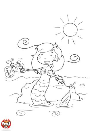 Coloriage: Sirène au soleil