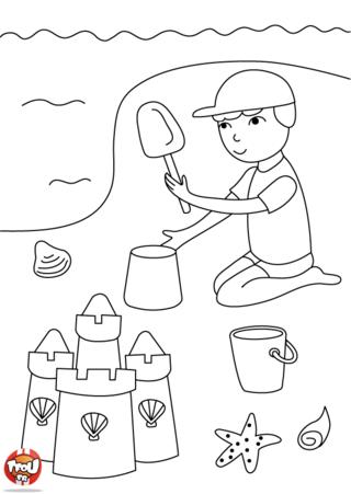 Coloriage: jouer avec le sable