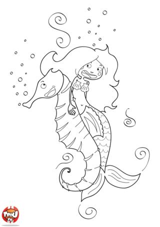 Coloriage: La sirène et l'hippocampe